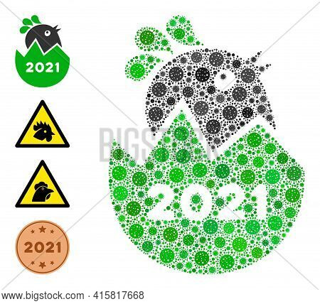 2021 Hatch Chick Bacteria Mosaic Icon. 2021 Hatch Chick Collage Is Composed With Scattered Viral Ico