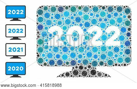 2022 Display Screen Covid-2019 Mosaic Icon. 2022 Display Screen Collage Is Done With Randomized Covi