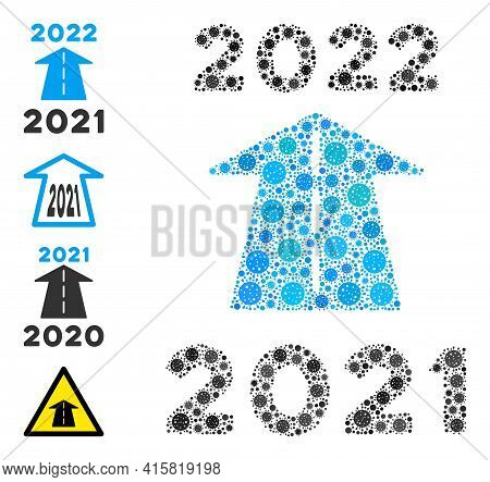 2022 Future Road Covid-2019 Mosaic Icon. 2022 Future Road Collage Is Made With Random Viral Icons. B