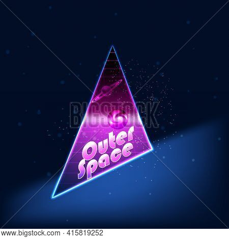 Space Stars Background. Vector Illustration Of Outer Space And Earth Planet.