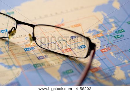 Selective Focus On Map Of Asia