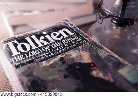 Celadna, Czechia - 04.03.2021: Vintage Paperback Edition Of Tolkien's Lord Of The Rings.