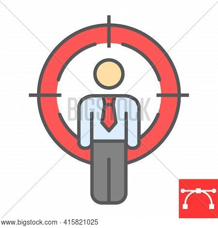 Headhunting Color Line Icon, Man Under Crosshair And Sniper, Target Candidate Vector Icon, Vector Gr