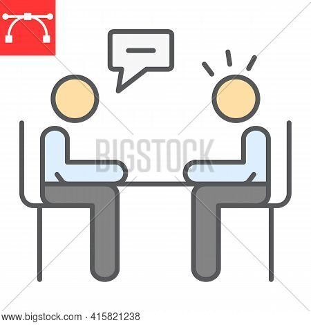 Interview Color Line Icon, Discussion And Two People Talking, Recruitment Interview Vector Icon, Vec