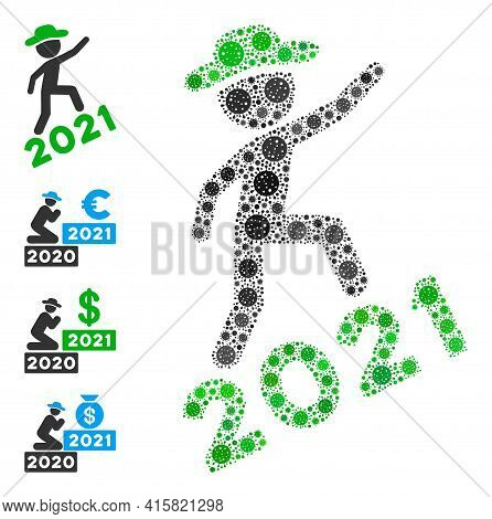 Gentleman Climbing 2021 Covid Virus Mosaic Icon. Gentleman Climbing 2021 Collage Is Constructed From