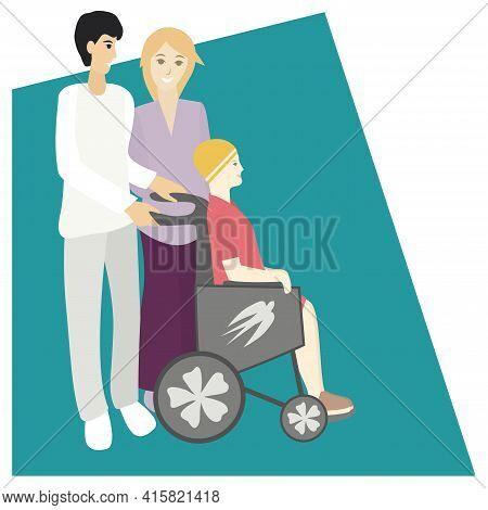 Parents And Daughter With Disability. Limited Abilities Teenager Girl. Diverse Families Concept. Iso