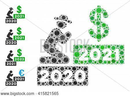 Gentleman Pray Dollar 2021 Covid Mosaic Icon. Gentleman Pray Dollar 2021 Collage Is Done Of Random C