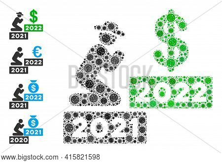 Gentleman Pray Dollar 2022 Covid Virus Mosaic Icon. Gentleman Pray Dollar 2022 Collage Is Made With