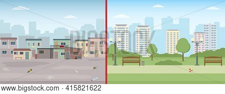 Old Ruined Houses And Modern City. Contrast Of Modern Buildings And Poor Slums. Flat Style Vector Il