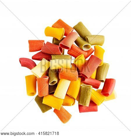 Assorted Multicolored Ones In Rigatoni. Grocery Food Background, Isolated On A White Background. Top