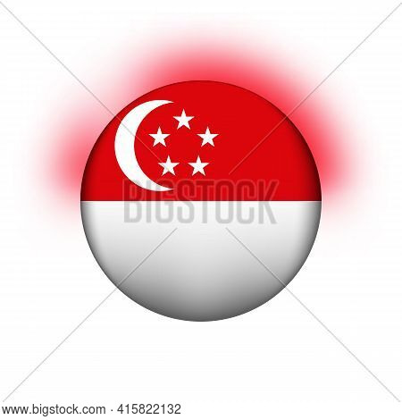 Glass Light Ball With Flag Of Singapore. Round Sphere, Template Icon. National Symbol. Glossy Realis