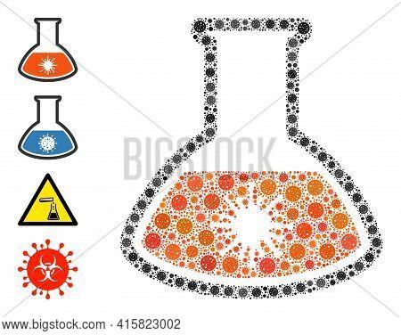 Virus Analysis Retort Coronavirus Mosaic Icon. Virus Analysis Retort Collage Is Organized From Rando