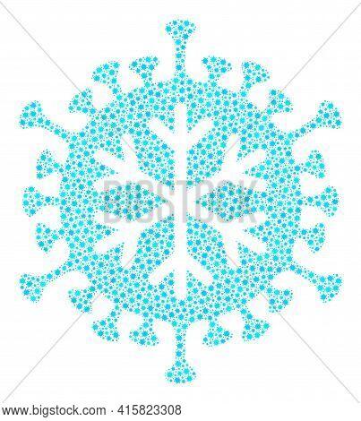 Vector Winter Virus Coronavirus Mosaic Icon Constructed For Pharmacy Illustrations. Winter Virus Mos