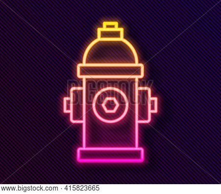 Glowing Neon Line Fire Hydrant Icon Isolated On Black Background. Vector