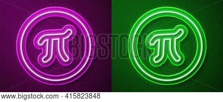 Glowing Neon Line Pi Symbol Icon Isolated On Purple And Green Background. Vector