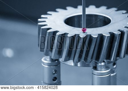 The  Cmm Machine Checking The Dimension  The Bevel Gear Part . The Quality Control Of Mechanical Par