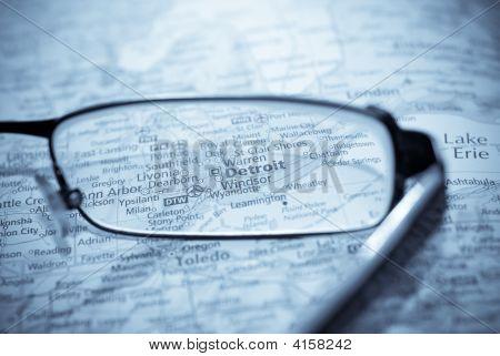 Selective Focus On Map Of Usa