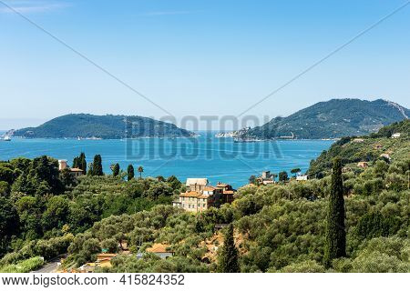 Aerial View Of The Gulf Of La Spezia With The Lerici And Portovenere Or Porto Venere Town And The Pa
