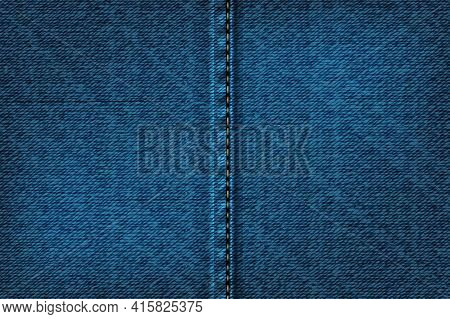 Denim Rectangular Background With Seam.vector Illustration Of Blue Texture.