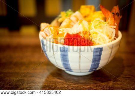 Seafood Don (assorted Seafood Rice Bowl). Selective Focus