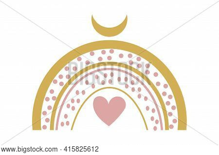 Cute Baby Boho Rainbow With Abstact Moon And Heart In Scandinavian Style, Lovely Decoration Isolated