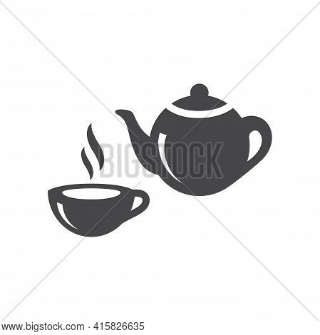 Tea Cup And Teapot Black Vector Icon. Tea Pot And Hot Mug Symbol.