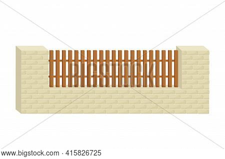 Fence From Stone Bricks And Wooden Planks In Cartoon Flat Style Isolated On White Background. Buildi