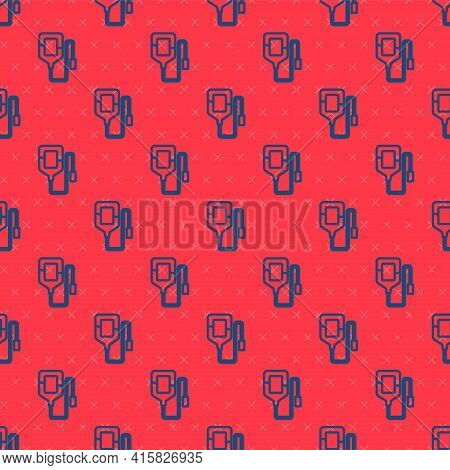 Blue Line Iv Bag Icon Isolated Seamless Pattern On Red Background. Blood Bag. Donate Blood Concept.