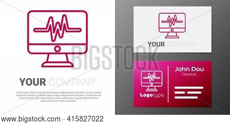 Logotype Line Computer Monitor With Cardiogram Icon Isolated On White Background. Monitoring Icon. E