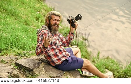 Summer Vibes. Photographer Hold Retro Camera. Journalist Is My Career. Reporter Make Photo. Vintage