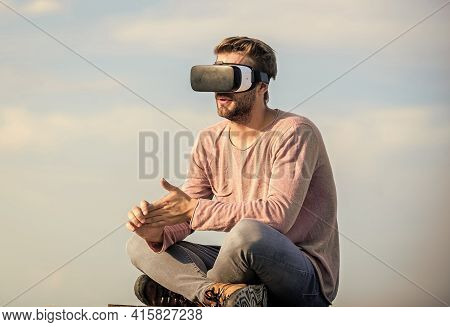 Modern Technology. Cyber Space. Virtual Reality. Handsome Man With Wireless Vr Glasses Headset. Game