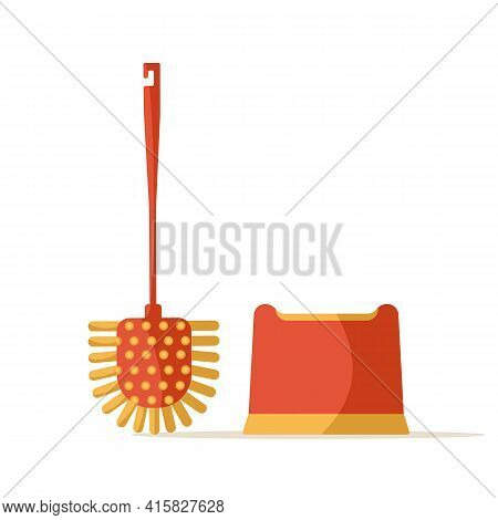 Modern Design Toilet Brush, Brush Stand, Isolated On White Background. Red And Yellow Toilet Brush.