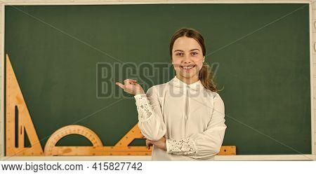 Clever Teenager Student. Educative Activity. Small Child Study In School. Smart Schoolgirl. School E