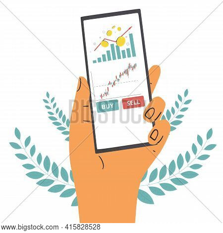 Investment Concept. Phone Screen In Human Hands App For Digital Invest. Stock Market Boom. Grow In E