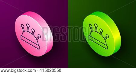 Isometric Line Needle Bed And Needles Icon Isolated On Purple And Green Background. Handmade And Sew
