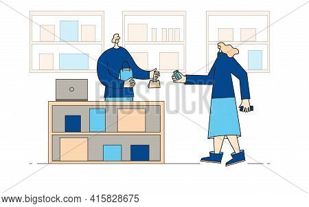 Small Shop. Female Person Byuing A Gift For Friend And Going To Pay With Credit Card. Sale Concept.