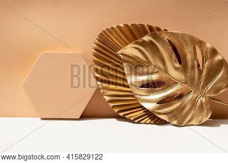Golden Leaves Styled Stock Scene, Stage For Product Presentation In Rich Earth Tones