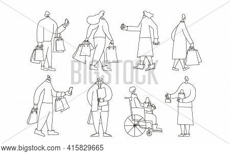 Set Of Customer Characters With Shopping Bags. People Dressed In Casual Trendy Clothes Standing With