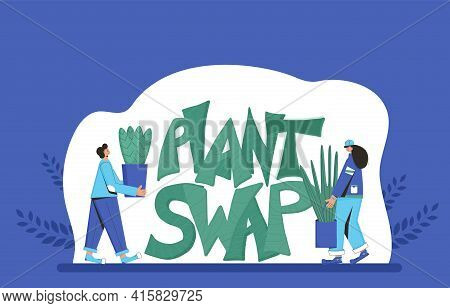 Plant Swap Emblem. Two Persons Wearing In Casual Clothes Holding In Hands Potted Flower And Hand Dra