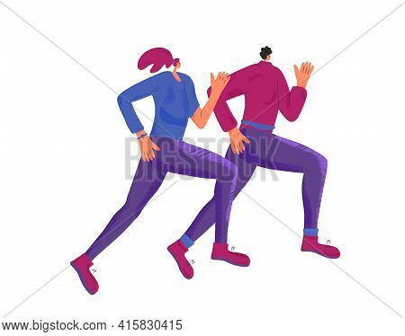 Two Women Running Together. Girls In Fashionable Sportwear Jogging. Female Runners. Vector Flat Colo