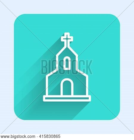White Line Church Building Icon Isolated With Long Shadow. Christian Church. Religion Of Church. Gre