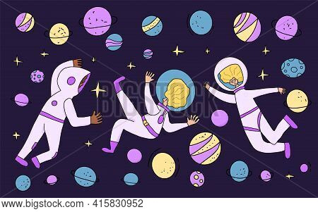 Space Tourism Concent. Group Of Astronauts Dressed In Helmet And Suit In An Open Space. Female Cosmo