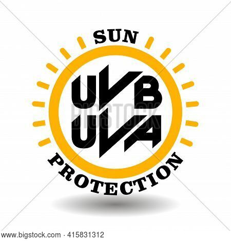 Circle Vector Icon Sun Protection With Uva, Uvb Symbols For Labeling Spf Cosmetics Package. Sunblock