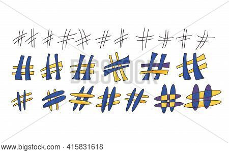 Hashtag Or Number Sign Isolated On White Background. Social Media Hash Tag Symbol. Vector Illustrati