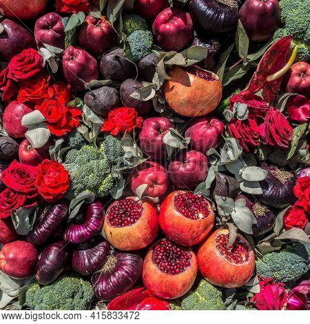 Vegetables, Flowers And Apples Autumn Square Background. Beautiful Pattern Of Vegetarian Food. Harve