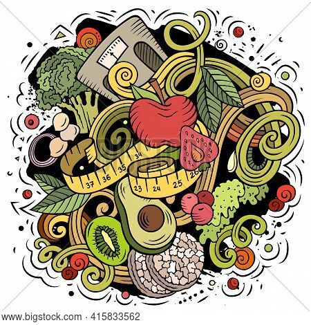 Cartoon Vector Doodles Diet Food Illustration