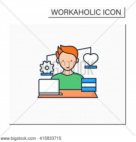 Workaholic Color Icon.work Before Personal Lives. Give Preference To Job. Man Works On Laptop. Hard