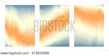 Abstract Pastel Blue, Yellow And Orange Vibrant Gradient Colors Backgrounds For Fashion Flyer, Broch