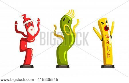 Dancing Inflatable Tube Men Waving Air Hands Set, Colorful Inflatable Tube For Advertising Cartoon V