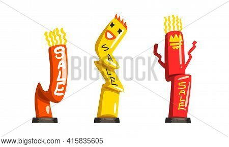 Dancing Inflatable Tube Man Set, Colorful Inflatable Tube For Advertising Cartoon Vector Illustratio